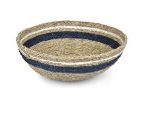 panière ronde couleur tabac avec une bande indigo et une bande blanche