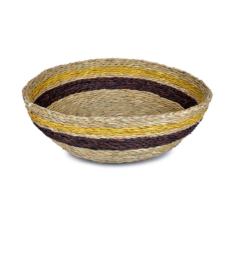 Panière ronde couleur tabac avec une bande marron et une bande moutarde