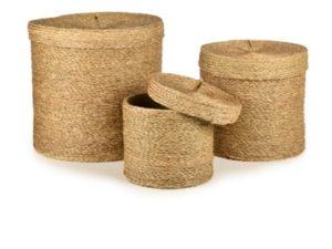 set de 3 boites rondes gigognes en fibre naturelle