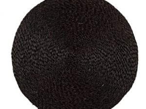 Set de table rond noir en fibre naturelle fait main