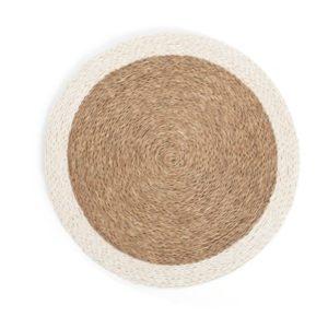 Set de table rond en fibre naturelle tressée couleur tabac avec une bordure blanche