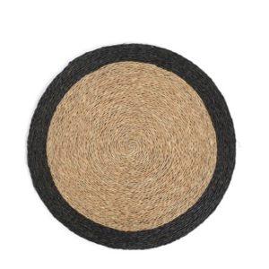 Set de table rond en fibre naturelle tressée, couleur tabac avec une bordure noire