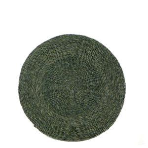 Set de table rond en fibre naturelle tressée couleur vert forêt
