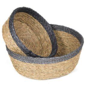 paniere ronde en fibre naturelle tressée