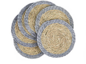 set de 6 dessous de verres ronds en fibre naturelle tressée