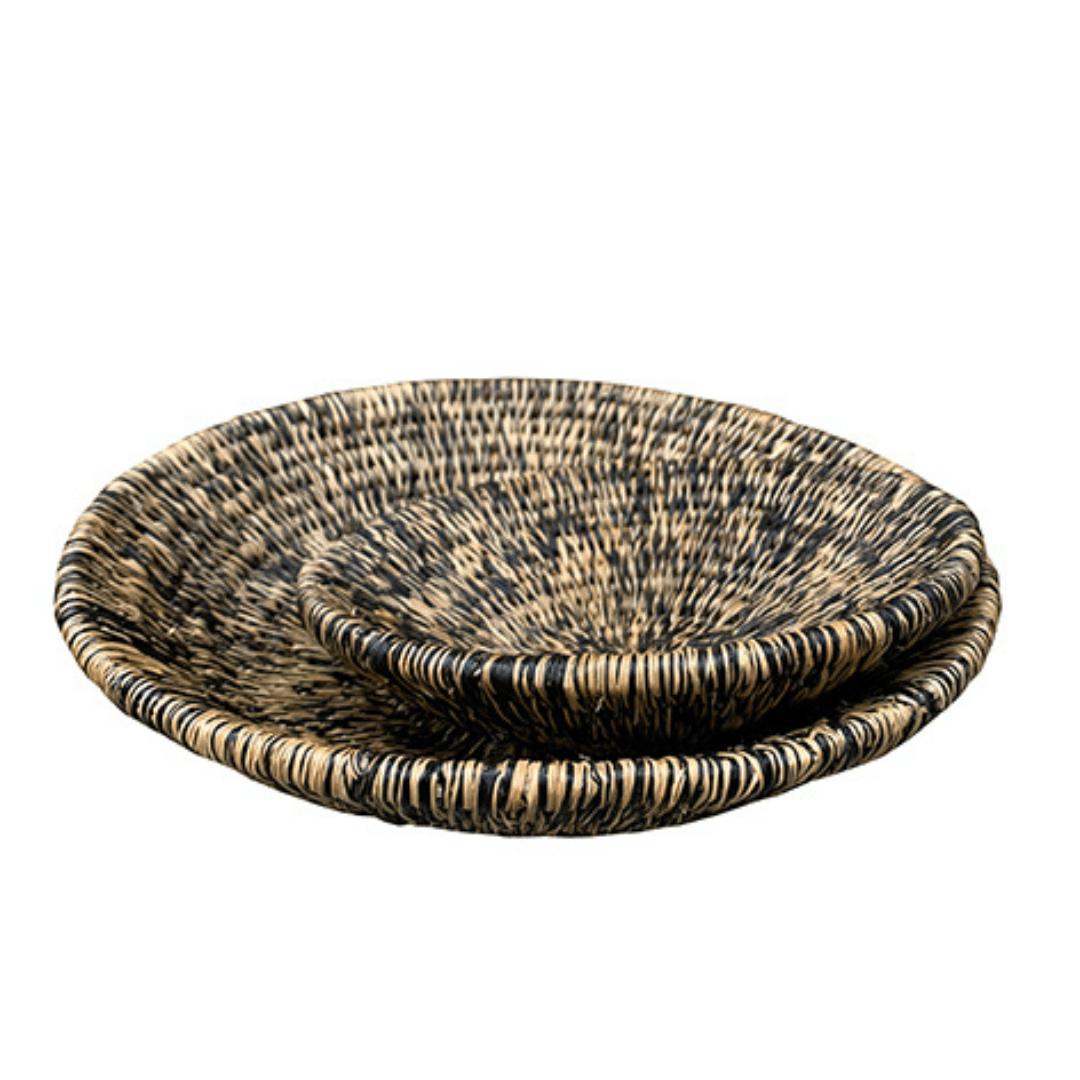 2 panières rondes faites à la main en fibre naturelle