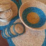 sets, panière et sous verres en fibre naturelle